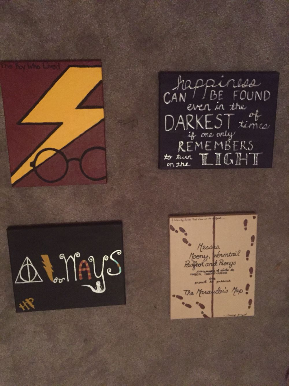 Cute Bedroom Drawings: Diy Harry Potter Canvases. Super Easy To Make And Pretty