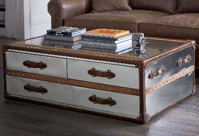 A Must Have Trunk Coffee Table In Stainless Steel And Leather