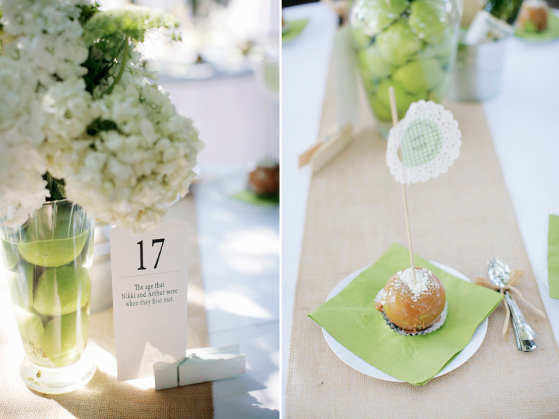 Elegant Wedding Reception Decor Centerpieces Using Fruit Green Apples Carmel As Favors