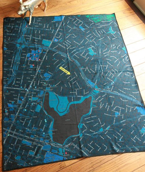 San Francisco-based Soft Cities creates blankets and napkins, or Mapkins as they call them, which feature a map with a location of your choice.