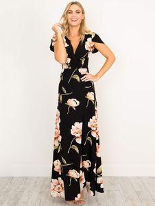 cd9b2428882e Maxi Dress Black V Neck Short Sleeve Floral Print Boho Long Dresses For  Women in 2019