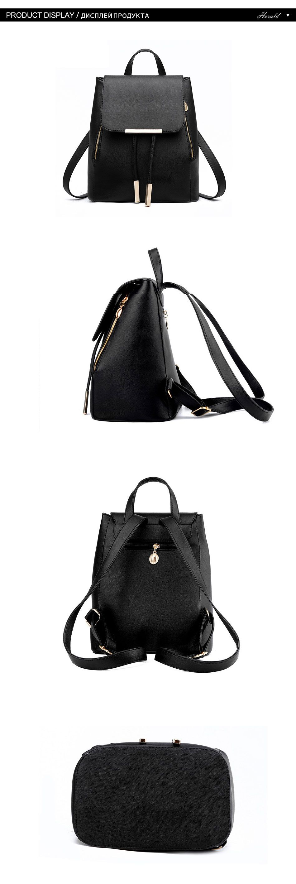Buy Women Backpack High Quality PU Leather Mochila Escolar School Bags For Teenagers  Girls Top-handle Backpacks Herald Fashion from 14xpress - Best shopping ... 708b89ec7cc1f
