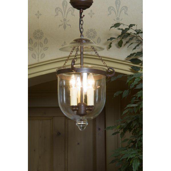 A Superb Georgian Bell Jar Hall Lantern In Clear Gl On An