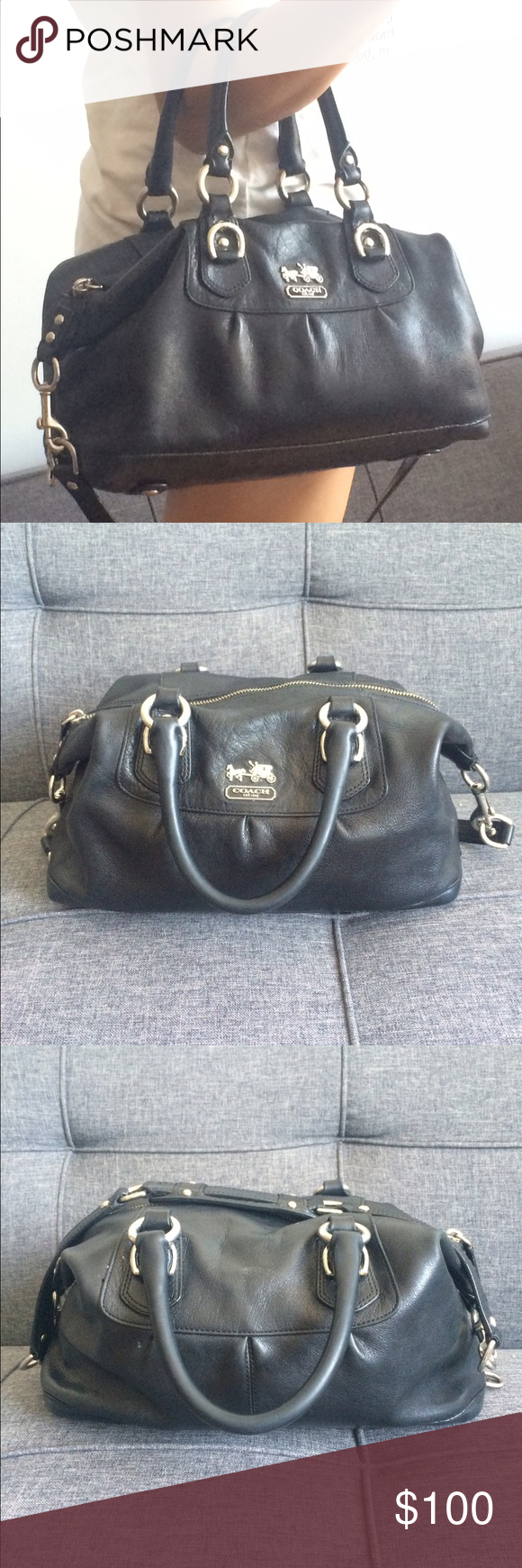 Coach Madison Sabrina Leather Satchel Black leather satchel with silver hardware. Stains on inside lining but leather is in great shape. Comes with long shoulder strap. 12x9x6. Coach Bags Satchels