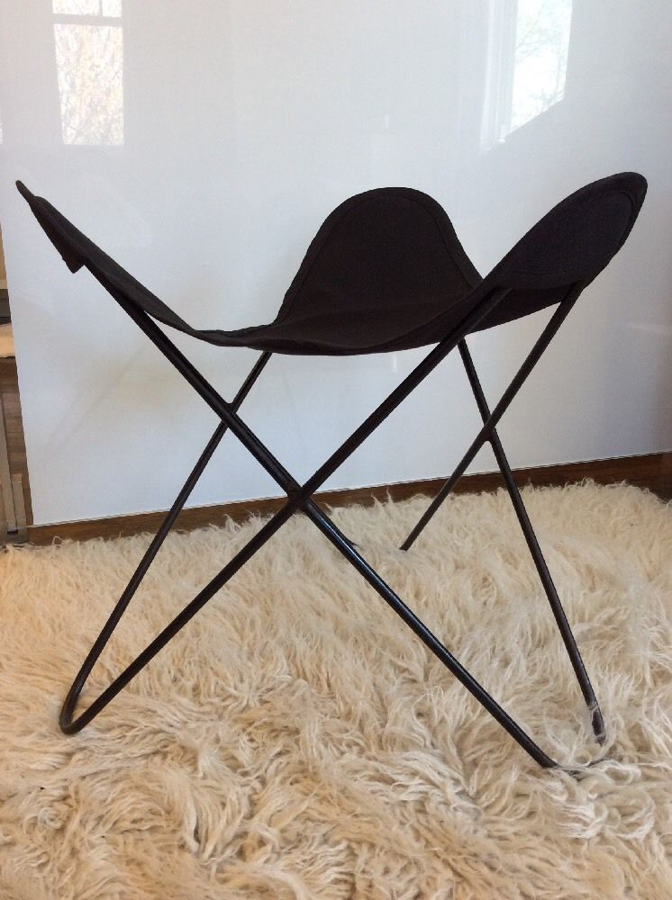 Vintage Knoll Hardoy Butterfly Chair Stool Footrest Mid Century W/ New  Canvas #1 |