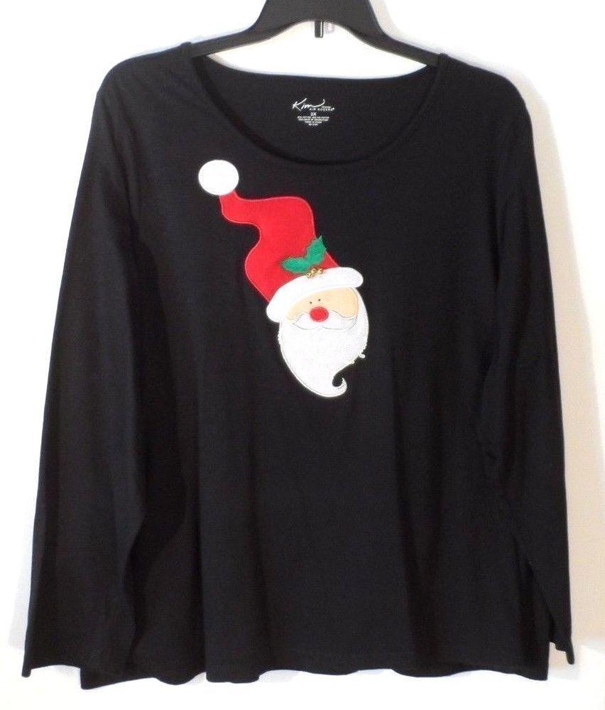 997852f061e0d Women s Kim Rogers Black Santa Claus Cotton Christmas LS Top Plus Size 3X   fashion