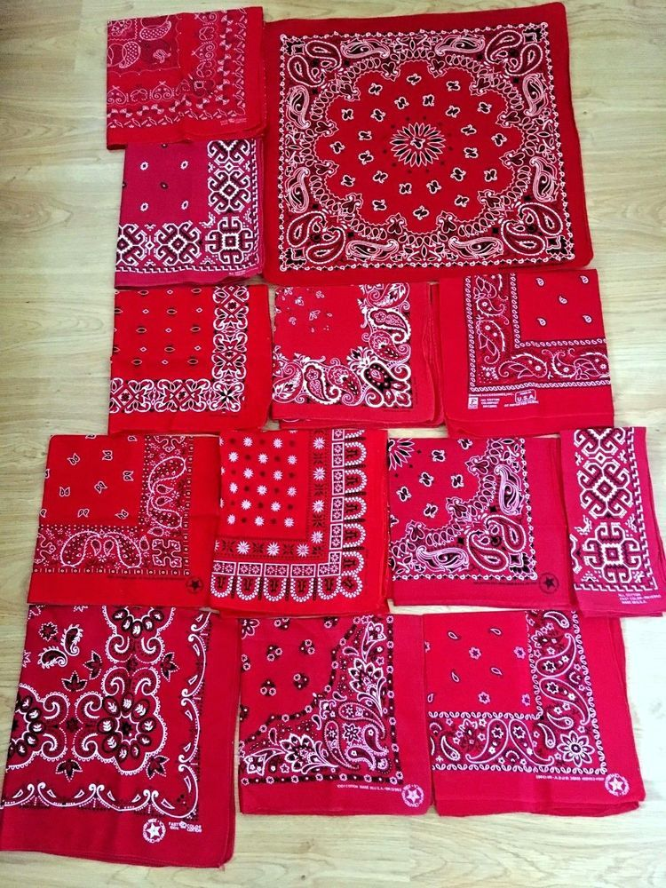 Lot of 12 bandanas red made in usa vtg fast color in 2019   Bompton
