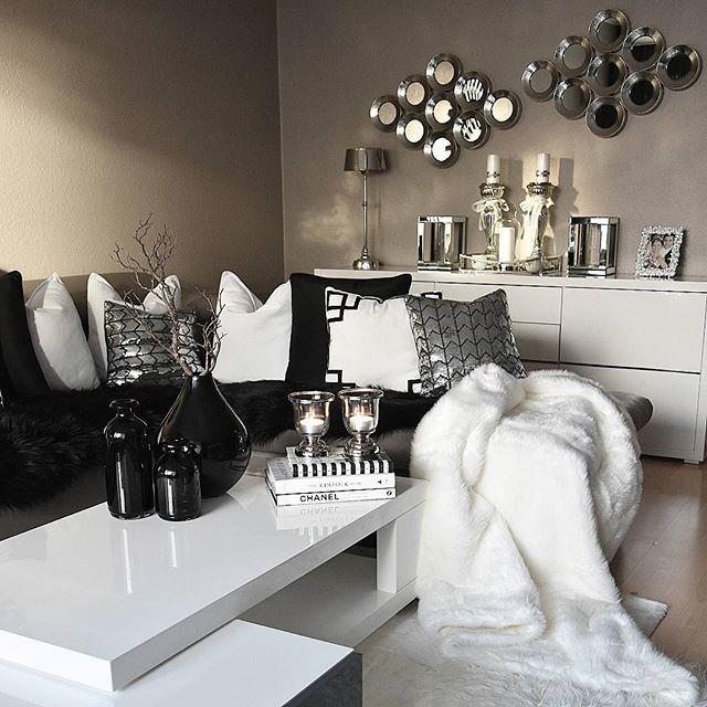 Black White Silver Living Room Kortenstein Interior Stue