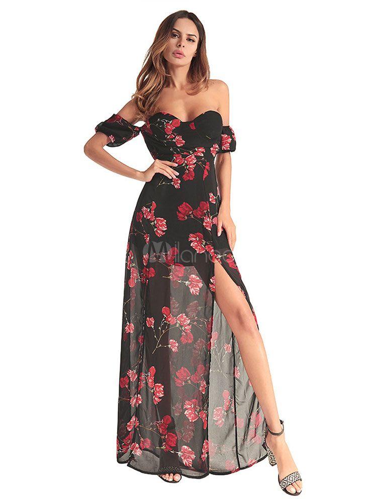 19b5eb055e largo vestido Boho de color en negro de chifón sin hombro estampado de flor  vestido de verano sin espalda
