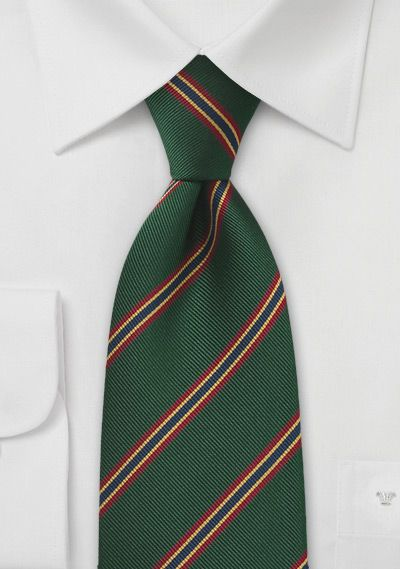 a4616169d907 British+Regimental+tie+in+Dark+Green+with+Red,+Gold,+and+Blue+Stripes