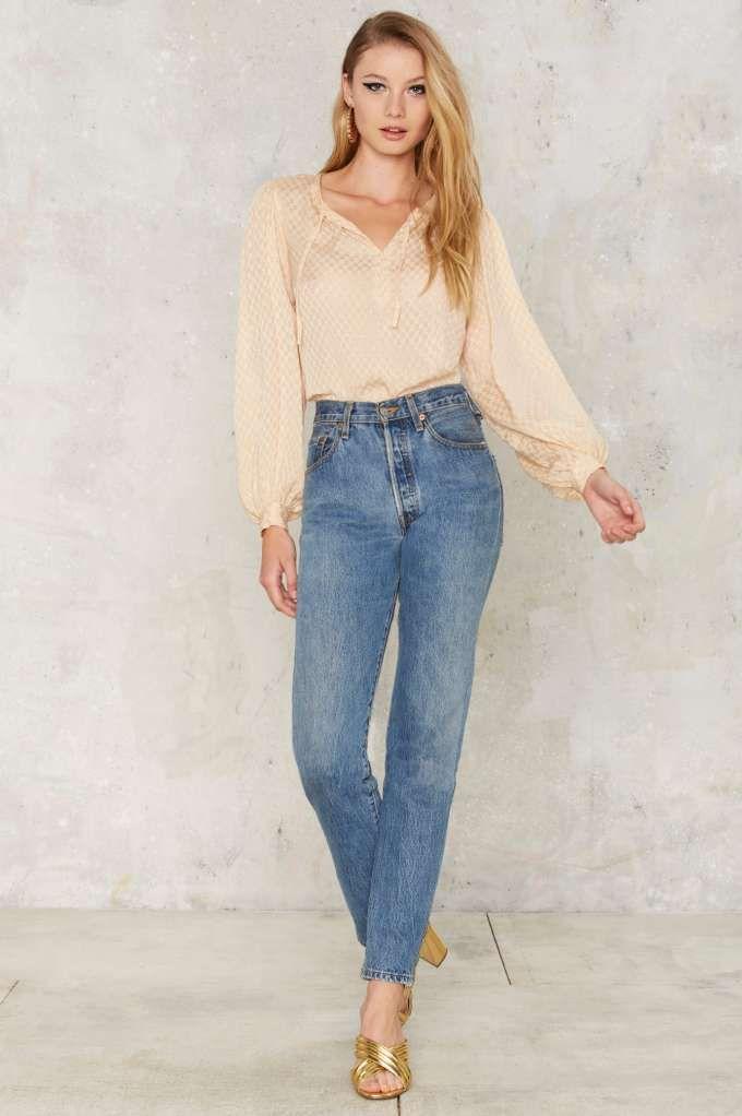 d140c8ead6f Vintage Yves Saint Laurent Plunging Blouse - Vintage Clothes ...