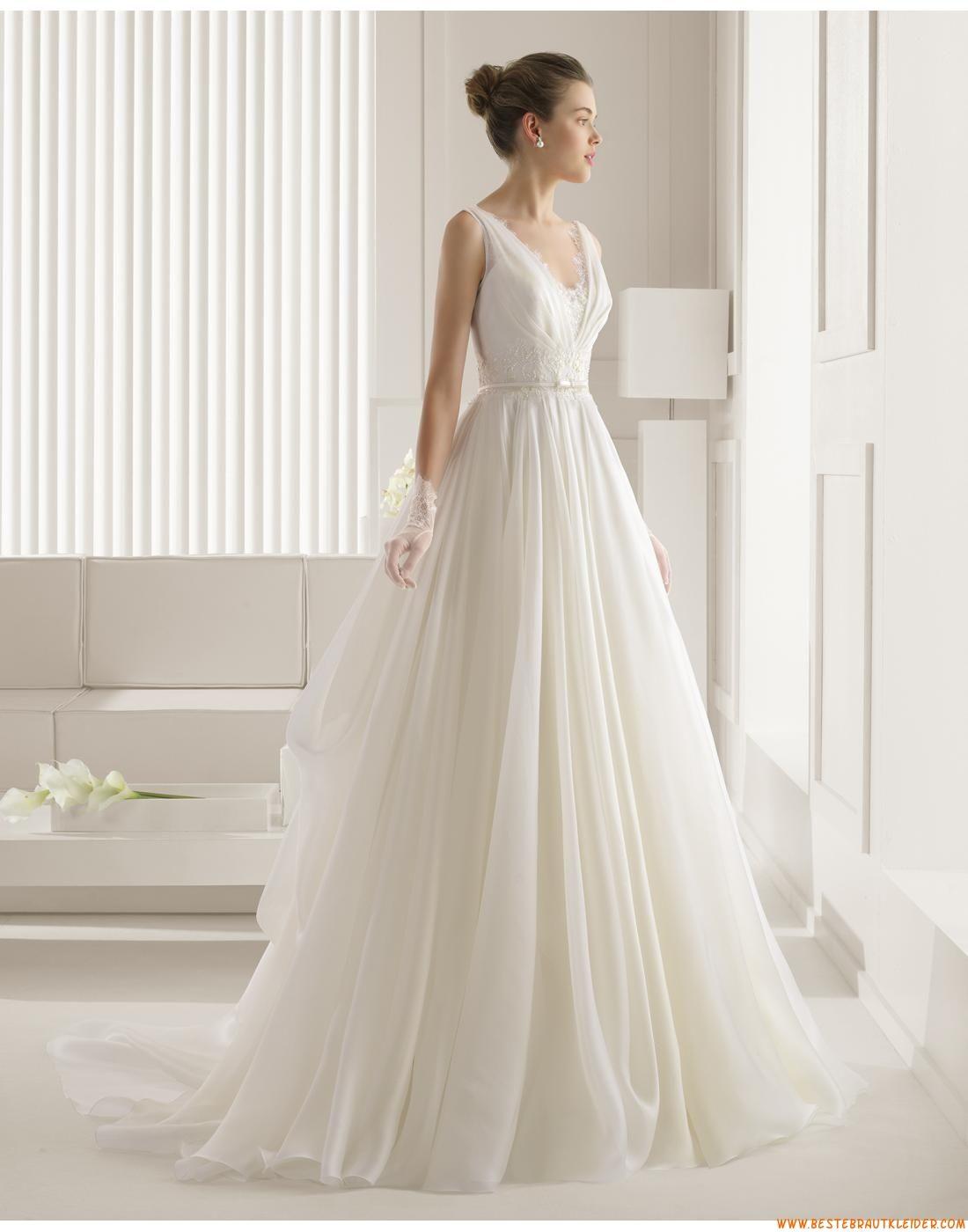 A-linie Schlichte Außergewöhnliche Brautkleider aus Organza mit ...