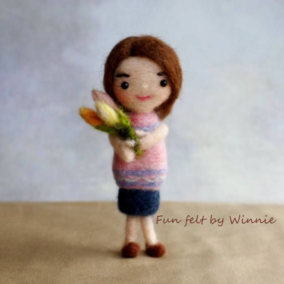 Needle felted Flowers for Her doll handmade by FunFeltByWinnie