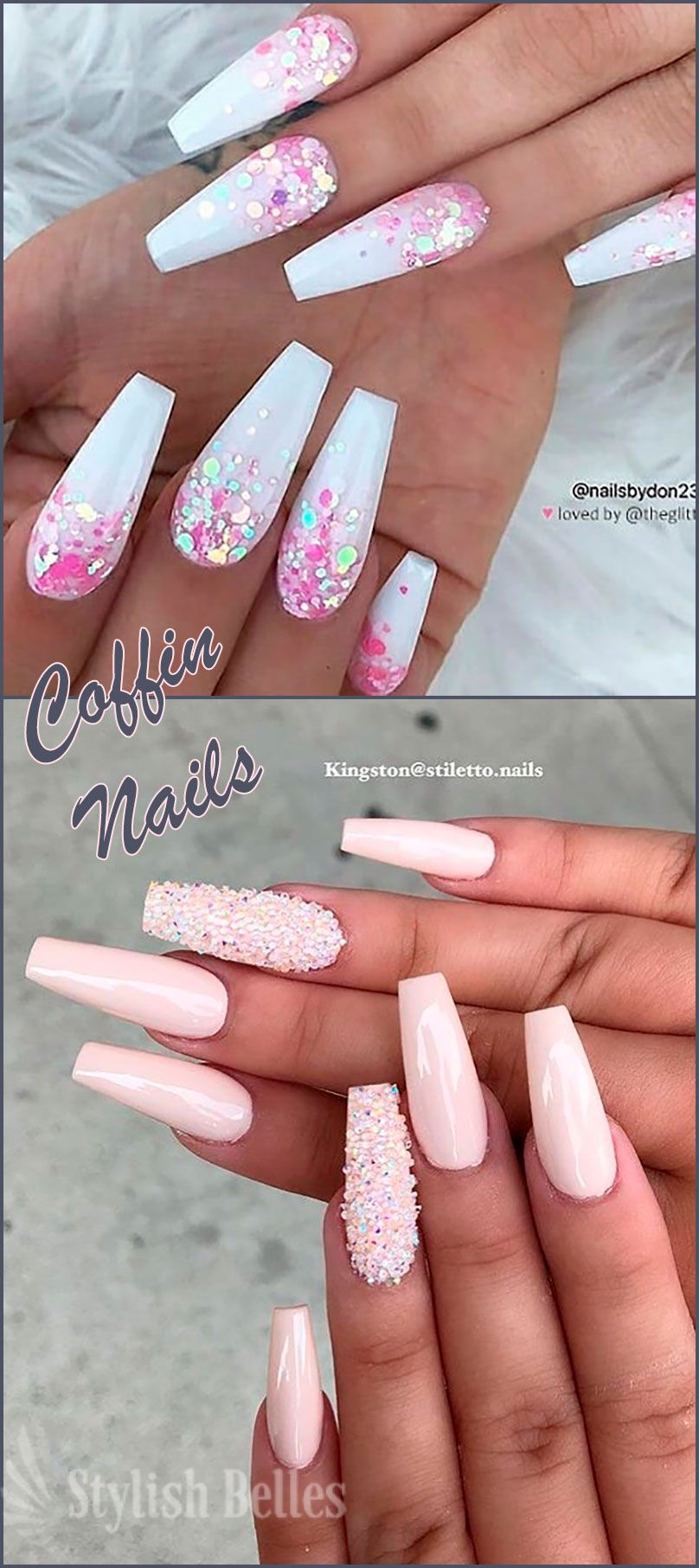 120 Best Coffin Nails Ideas That Suit Everyone Pink Acrylic Nails Light Pink Acrylic Nails White Glitter Nails