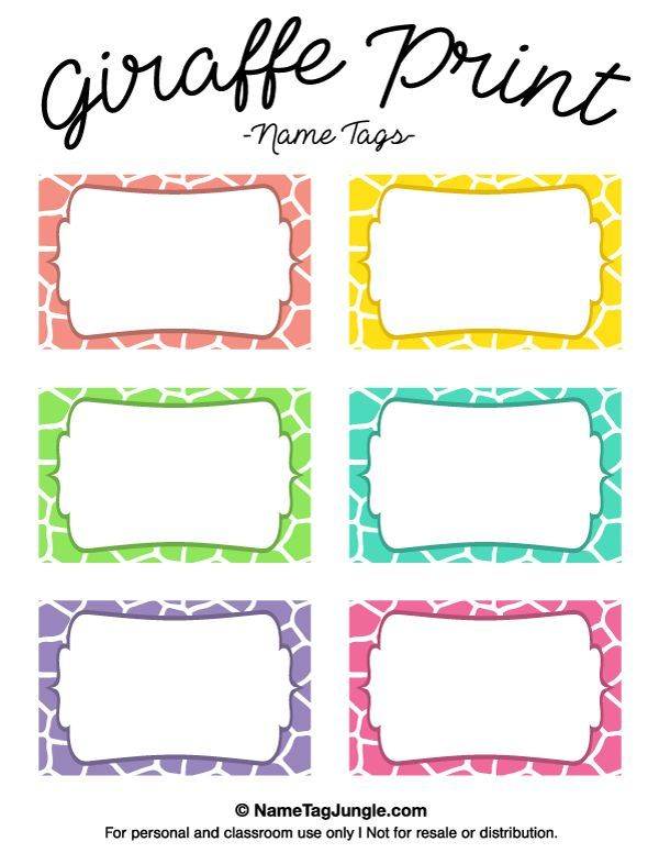 Free printable giraffe print name tags the template can for Design table name cards