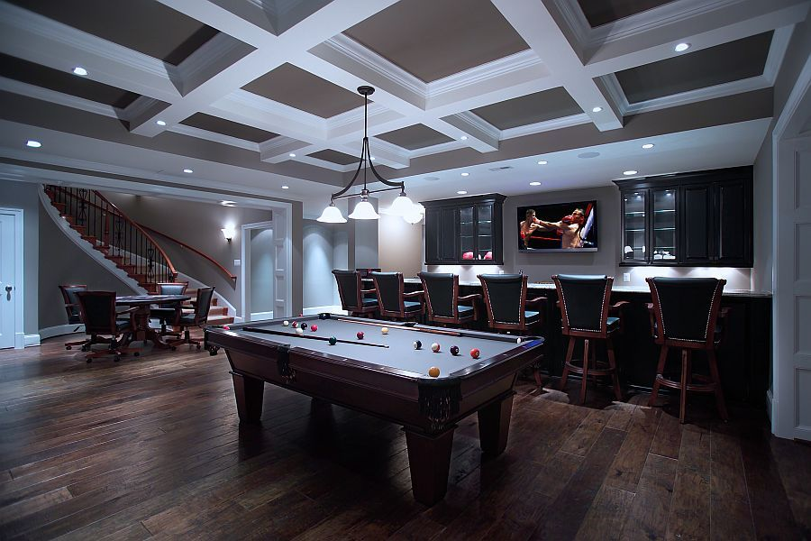 Man Cave Spa : Basement rustic wood floores flat screen over the bar