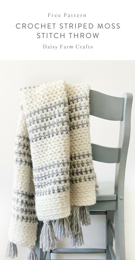 Free Pattern - Crochet Striped Moss Stitch Throw #crochet | Crochet ...