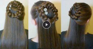Side-Braided-Wreath-or-Halo-Braid,-Half-Up-Hairstyle