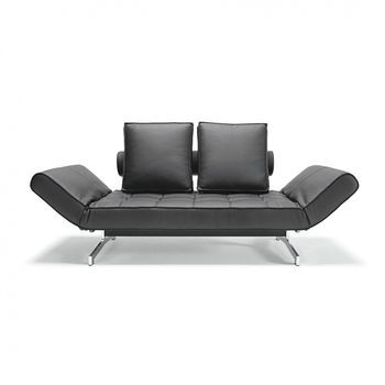Ghia Sofa Bed Artificial Leather Legs Chromed Steel 180x90cm Design Schlafsofa Schlafsofa Schwarz Design