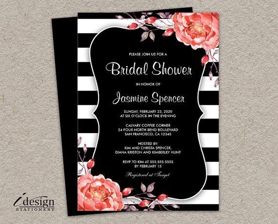 Printable Black And White Stripe Bridal by iDesignStationery