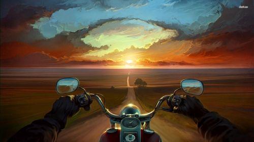 Obraz Droga Motocykl Zach - Sunset, motocicleta, bicicleta, natureza, arte, estrada, árvore, costume, motociclista, Zachod