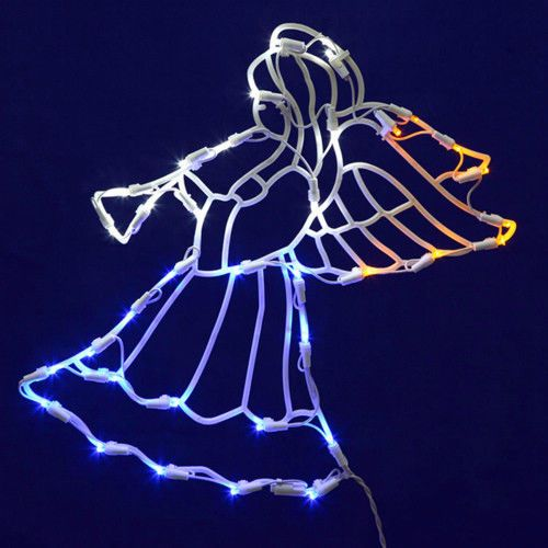 christmas light up angel with horn 17 silhouette window led wall decor holiday vickerman - Christmas Light Up Window Decorations