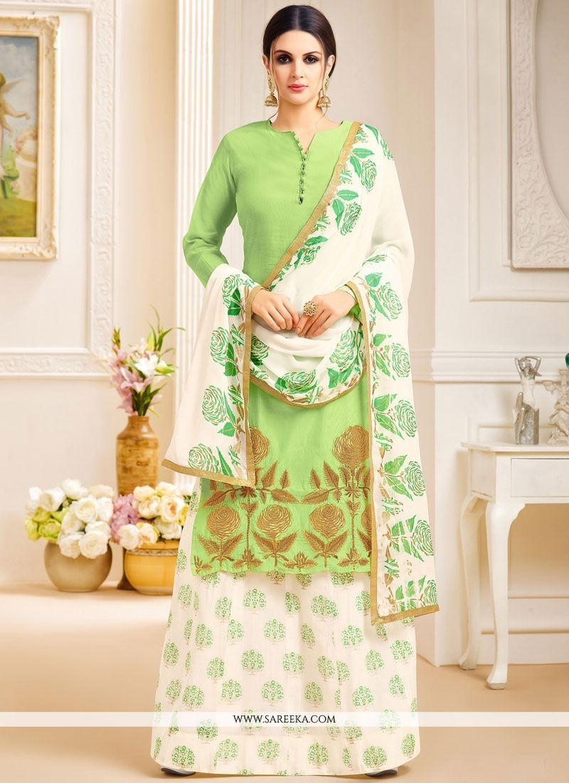 Embroidered fancy fabric long choli lehenga in green lehenga choli