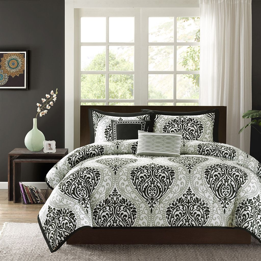 Black and white damask bedding queen - Full Queen Size 5 Piece Comforter Set With Black White Damask Print Quality House