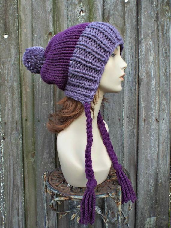 Dusty Purple Chunky Knit Hat Womens Pom Pom Hat - Slouchy ...