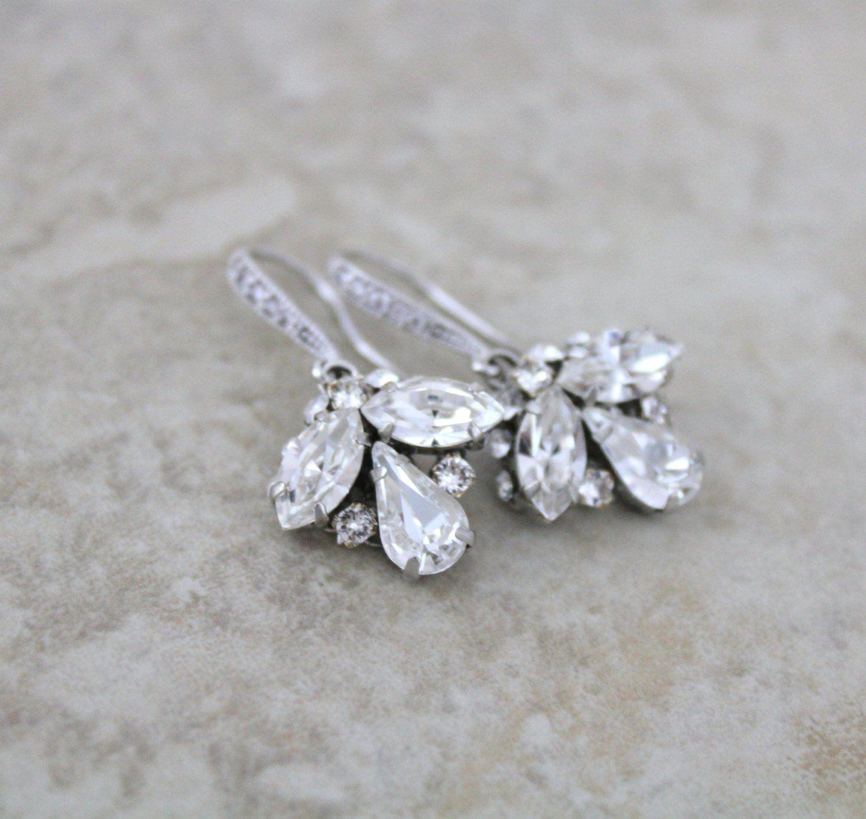 Swarovski Crystal Drop Earrings Simple Bridal Earrings Dainty Earrings Wedding Jewelry Crystal Wedding Earrings Rhinestone Earrings Bridal Earrings Wedding Jewelry