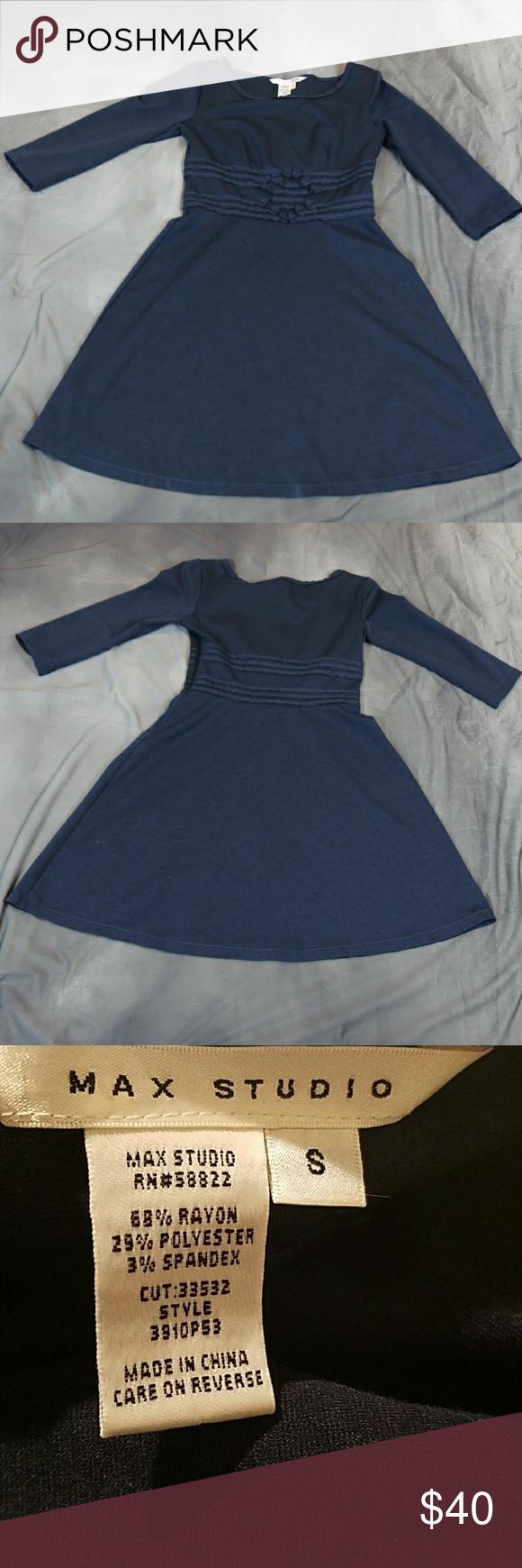 Max studio long sleeve aline navy dress s navy blue dresses blue