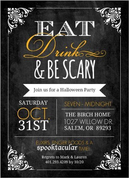 Chalkboard vintage frame halloween party invitation by purpletrail chalkboard vintage frame halloween party invitation halloween invitations stopboris Images