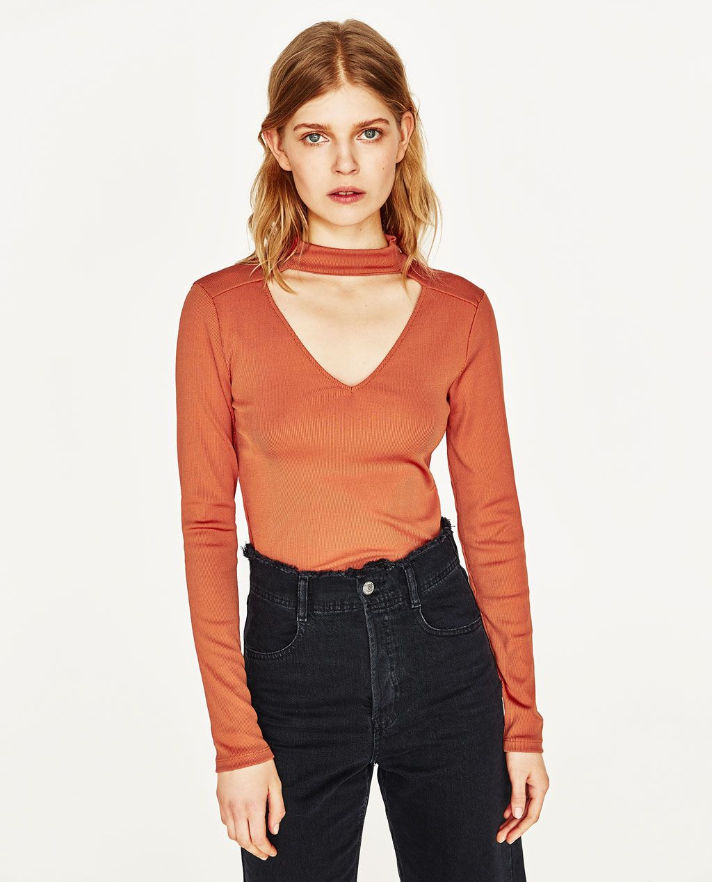 Zara black t shirt india - Image 2 Of Choker Neck T Shirt From Zara