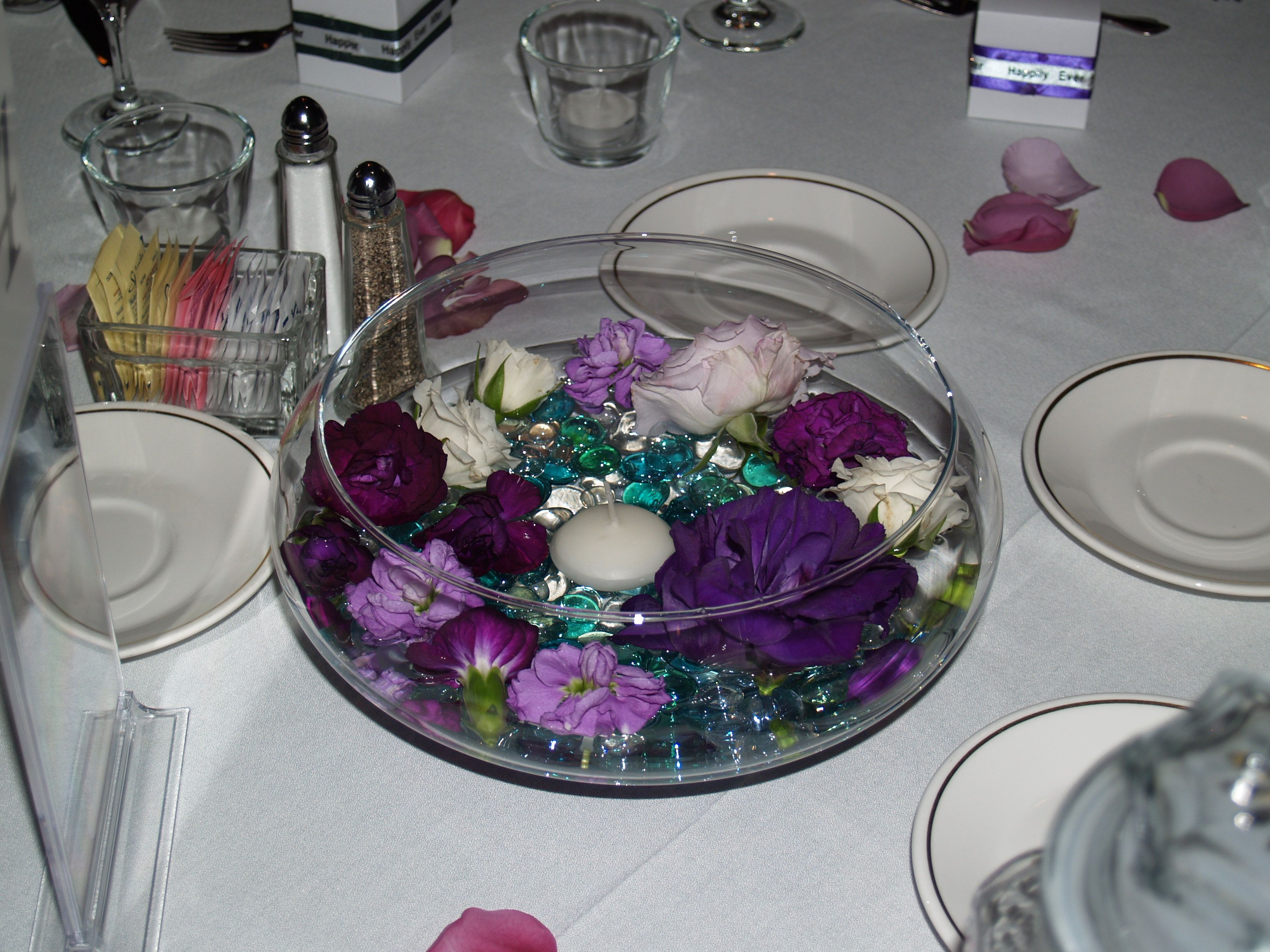 Purple wedding flowers table arrangements the other was a 14 purple wedding flowers table arrangements the other was a 14 hurricane vase with floating reviewsmspy