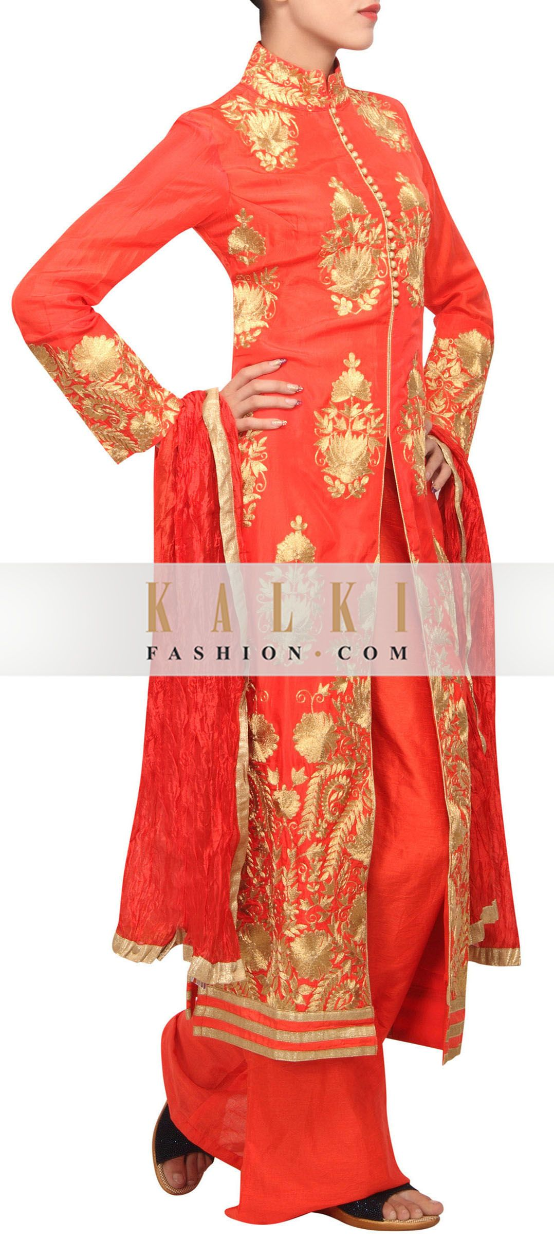 Buy Online from the link below. We ship worldwide (Free Shipping over US$100) http://www.kalkifashion.com/poppy-red-straight-suit-enhanced-in-zari-embroidery-only-on-kalki.html