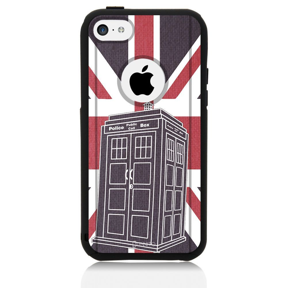 iPhone 5C Case Black Hybrid Dr Who Union Jack by Unnito
