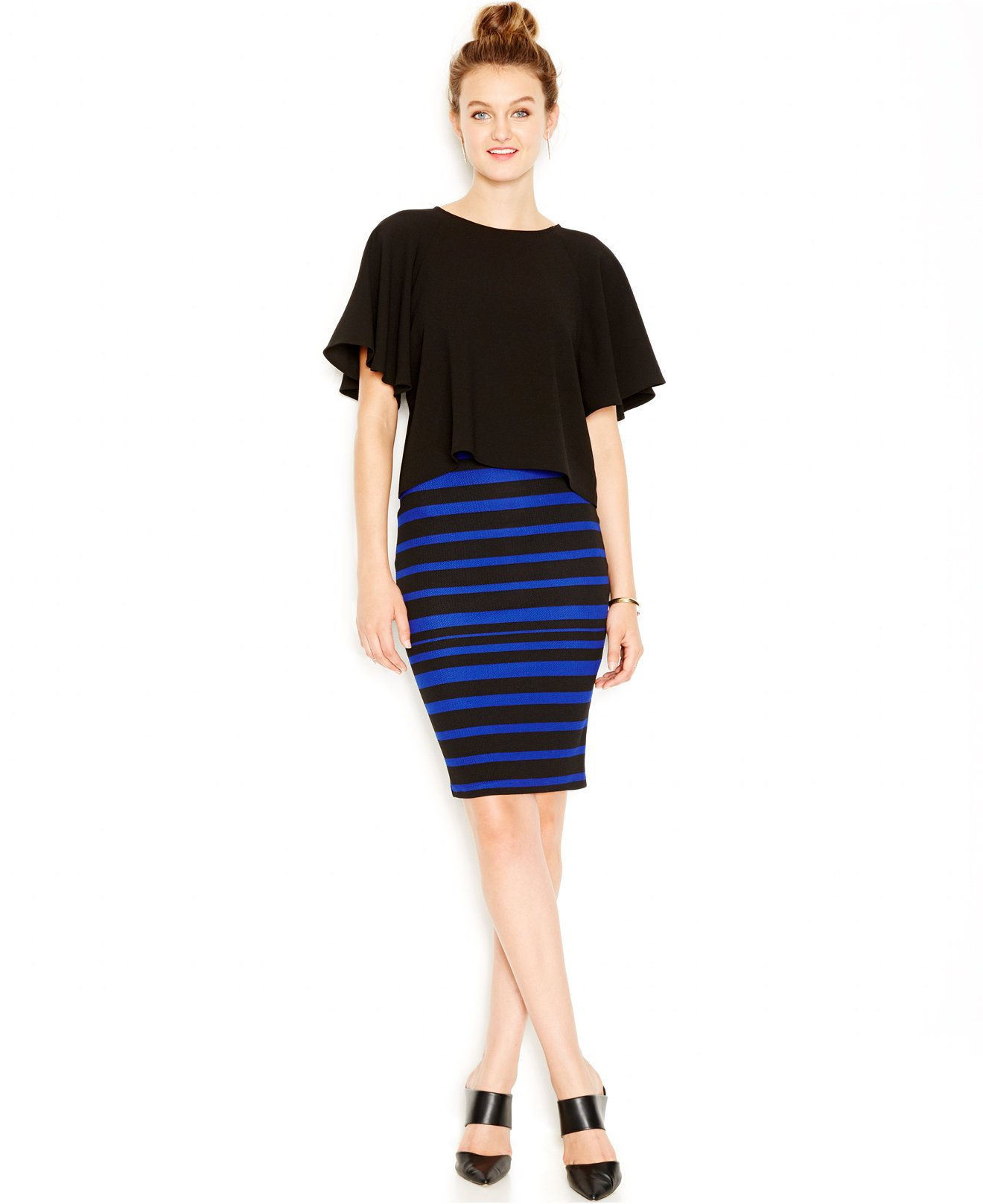 Striped summer style. Keep it professional for a business meeting or big date with this Bar III pencil skirt. Pair this essential with black heels for a seriously stunning OOTN.