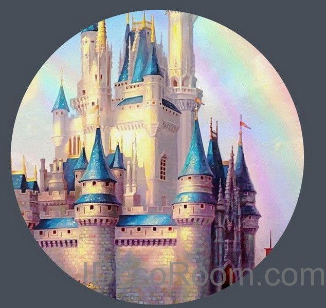 3D Tinkerbell Fairy Castle Wall Paper Rainbow Disney Princess Wallpaper Decals Art Print Mural Home Kids Girl Decor Indoor Childcare Deco