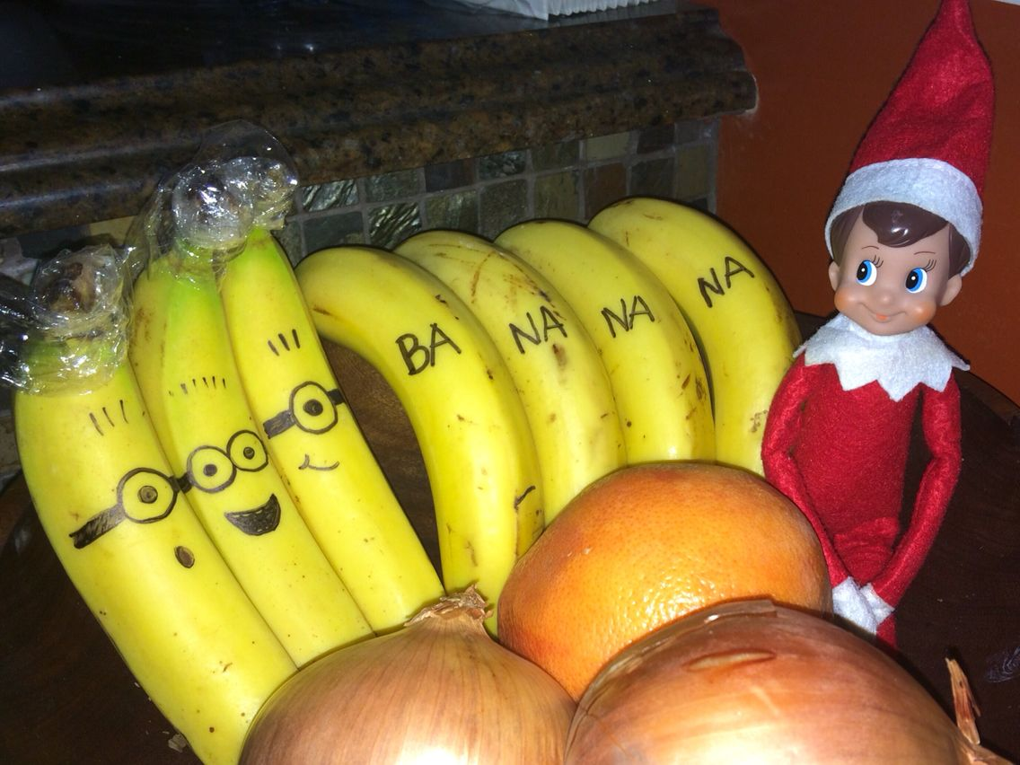 Minion Bananas Drawn By Elf On The Shelf Elf On The Shelf