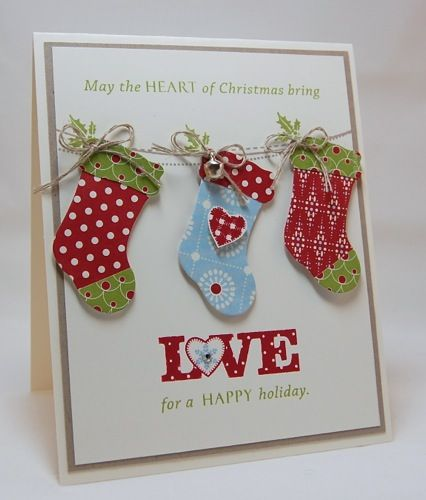 """""""Heart of Christmas"""" Card❤️Really like this card, definitely try to replicate.  I  the """"LOVE"""" Stamp. Supplies List Only."""