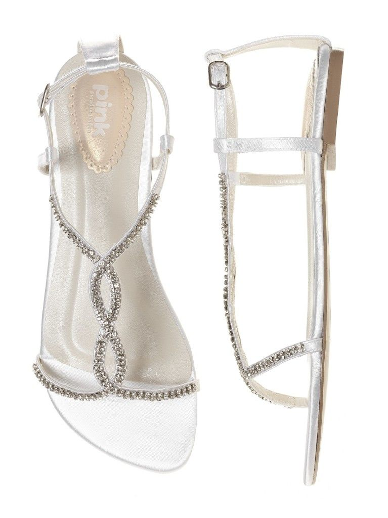 Sparkley Crystal Flat Sandal White Wedding Shoes Http Www