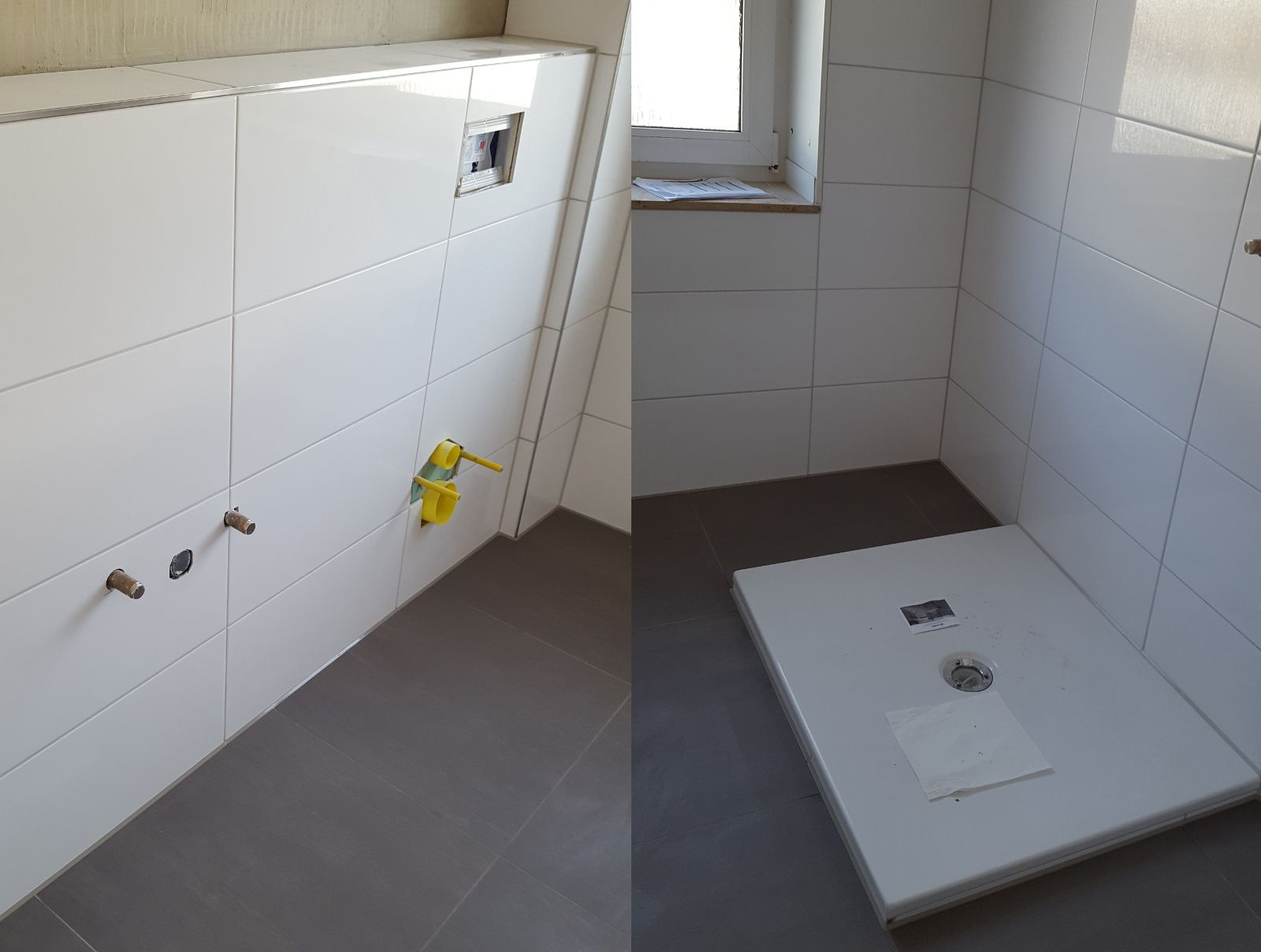 Renovierung Meines Bathroom / Badezimmer. Dunkle Bodenfliesen Und Helle  Wandfliesen
