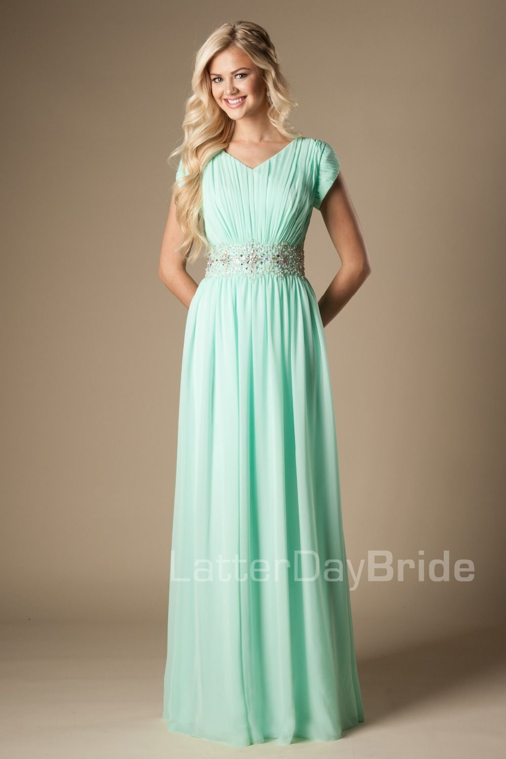 c010076df9f Mint Modest Prom Dresses