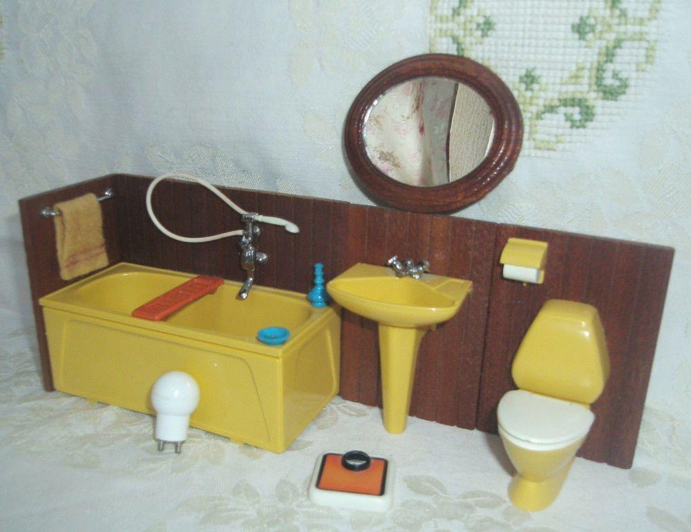 Details zu Lundby Badezimmer + Zubehör seltener ovaler Spiegel 60er