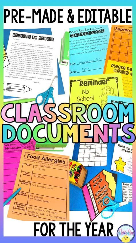 Classroom Documents & Paperwork for the Year EDITABLE and PREMADE is part of Classroom documentation, Letter to teacher, Parents as teachers, Teacher classroom, Classroom forms, Teaching classroom - Prepare for the school year with premade and editable forms, documents, send home papers and more! The perfect pack for teachers who love to keep parents in the loop and maintain great files Included in this PackBack to School Paperwork and FormsWelcome Letter for Classroom Teachers (premade