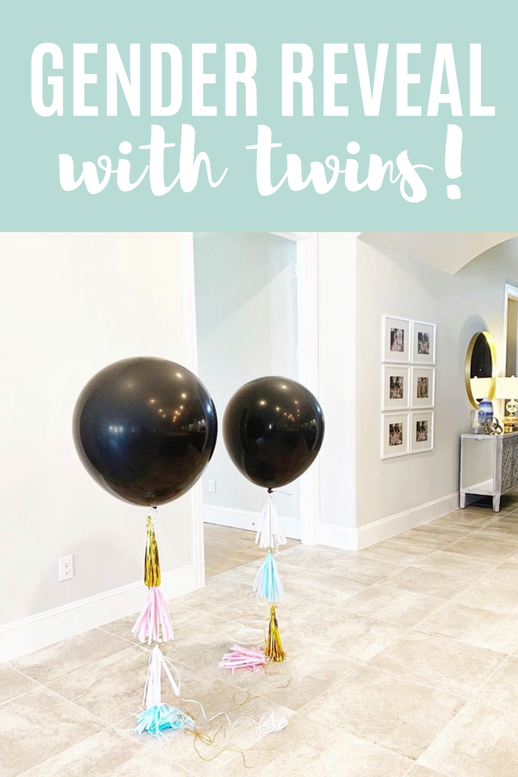 Our Twin Gender Reveal Twin Gender Reveal Gender Reveal Balloons Reveal Ideas