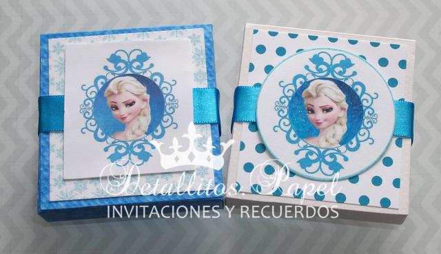 Invitaciones - Recuerdos Frozen Cajitas con jabón de glicerina figura copo de nieve, castillo, coronita etc.