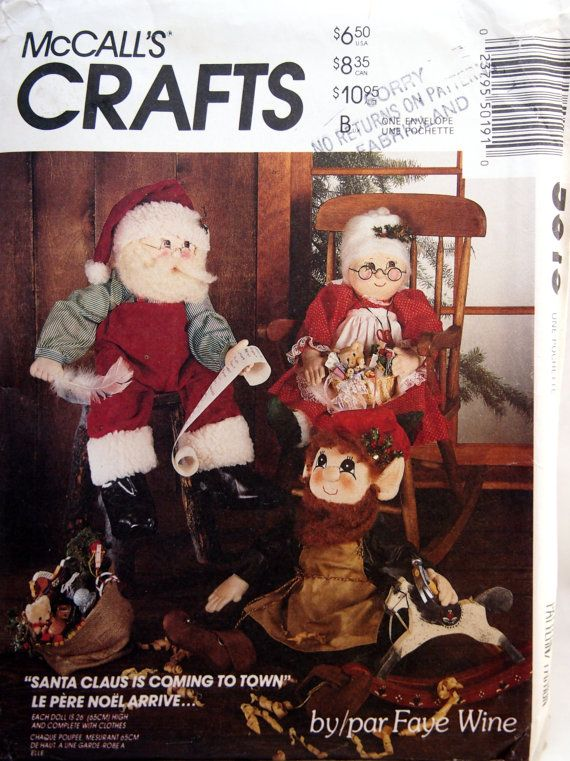 Santa Mrs. Claus Or Elf Doll And Clothes McCall's by NeedANeedle