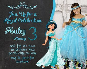 Free Princess Jasmine Birthday Party Invitation Ideas