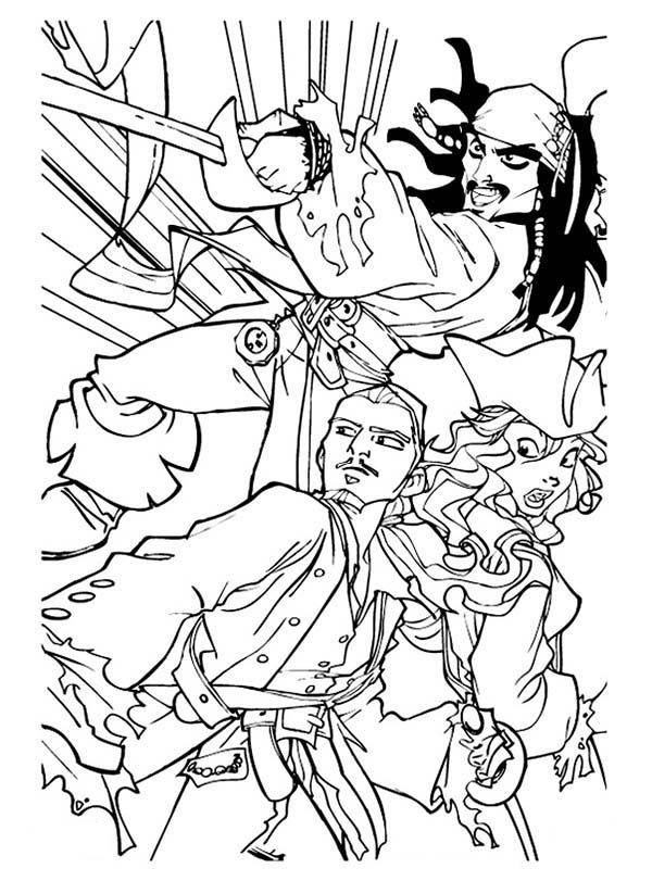 Jack Will And Elizabeth Swan In Pirates Of The Caribbean Coloring Page Coloring Pages Coloring Pages For Kids Pirates Of The Caribbean
